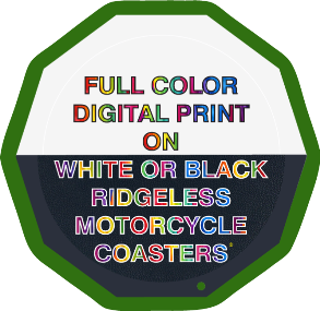 Full Color Print on White Ridgeless Motorcycle Coaster®